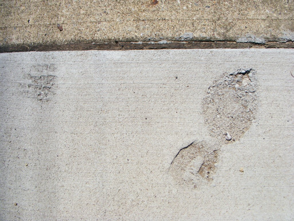 I found a random footprint in some cement. It's not a fresh print. Actually, it's a shoe.